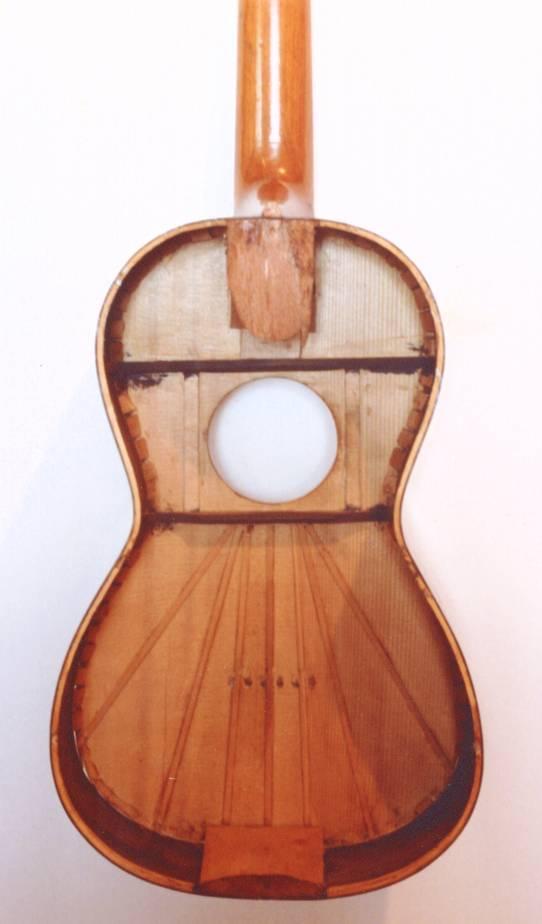 ルイス・パノルモの19世紀ギター。スペイン式のネック接合のよう。